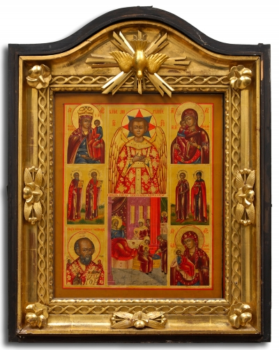 Russian icon - Angel of Blessed Silence, Mother of God in kiot shadow frame