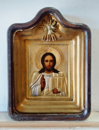 Russian Icon - Christ Pantocrator in brass oklad cover & kiot shadow frame