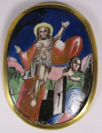 Russian Religious Finift Porcelain Placquette of the Resurrection