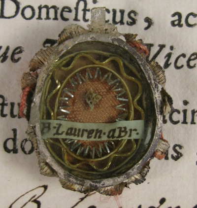 Documented theca with relics of St Lawrence of Brindisi, O.F.M. Cap., Doctor of the Church