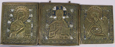 Large Russian Orthodox 3-panel folding travel skladen icon depicting Deisis