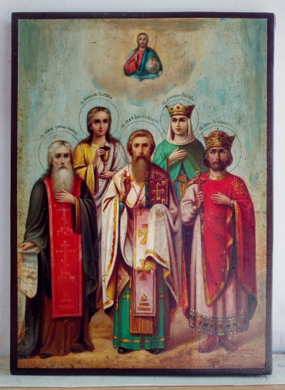 Russian Icon - 5 Selected Saints: Zosima, Barbara, Basil the Great, Claudia & Emperor Constantine