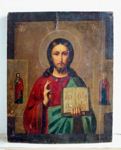 Russian Icon - Christ Pantocrator with 2 border saints