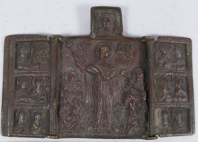 Small Russian Orthodox 3-panel folding travel skladen icon depicting Joy to All Who Sorrow Madonna with Archangels, Apostles, and selected Saints