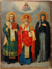 Russian icon depicting three Orthodox Saints: Saint John the Chrysostom, Saint Nicholas, and Saint Eudokia