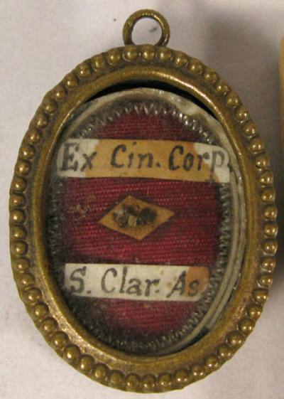 Theca with relic of Saint Clare of Assisi