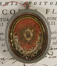 Documented theca with relics of St Lawrence (Laurence) Deacon of Rome, Martyr