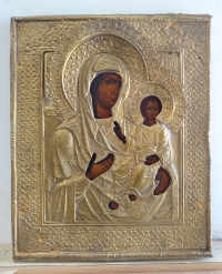Russian Icon - Our Lady of Smolensk in brass oklad