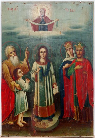 Russian Icon - Porkov - The Protecting Veil of the Most Holy Mother of God with Romanos the Melodist and Andrew the Fool