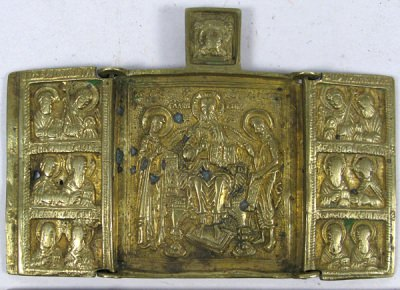 Small Russian Orthodox 3-panel folding travel skladen icon depicting  Christ Enthroned with Archangels, Apostles, and selected Saints