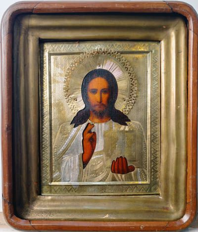 Russian Icon - Christ Pantocrator in brass oklad and kiot shadowbox frame