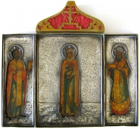 Russian 18th Century Icon - Mary Magdalene with St. Nicholas of Myra & St. Alexander, Patriarch of Constantinople