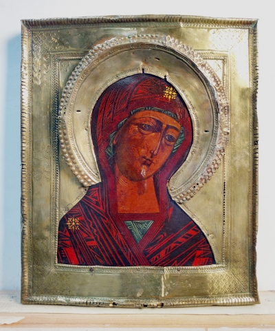 Russian icon - The Virgin Mary from the Deisus Row in brass oklad