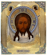 Fine Russian Icon - the Holy Mandylion in silver and enamel oklad revetment cover