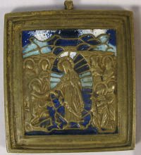 Small Russian brass plaquette depicting Jesus Christ's Descent into the Hades
