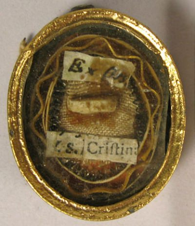 Theca with first class ex ossibus relic of Saint Christina of Bolsena