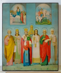 Russian Icon - The Dormition of the Virgin Mary, St. George and 7 Selected Saints