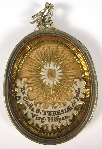 Reliquary theca with relics of St. Teresa of Ávila (St. Teresa of Jesus), Patron of Bodily Ills