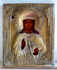Russian Icon - St Greatmartyr Barbara in brass oklad