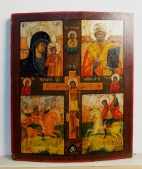Russian Icon - icon depicting the Crucifixion, Our Lady of Kazan, St. Nicholas, St. Michael, and St. George