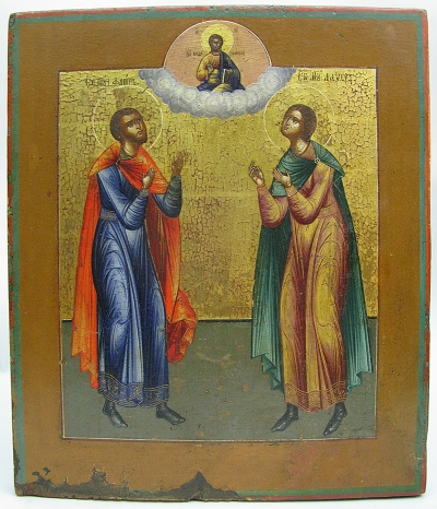 Russian Icon - Saints Florus and Laurus, Holy Patrons of Horses