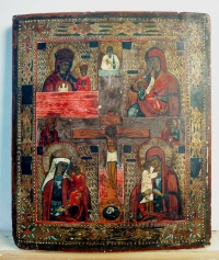 4-Panel Russian Icon: The Crucifixion and 4 Miracleworking Madonnas