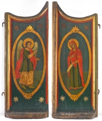 18c Greek Royal Doors of Iconostasis with a Scene of the Annunciation