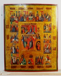 Russian Icon - Great Orthodox Feasts with Anastasis and Selected Saints