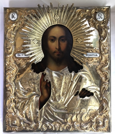 Russsian Icon - Christ Pantocrator in silver oklad revetment cover