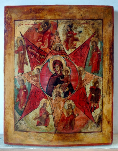 Russian Icon - Our Lady of the Unburnt Thornbush