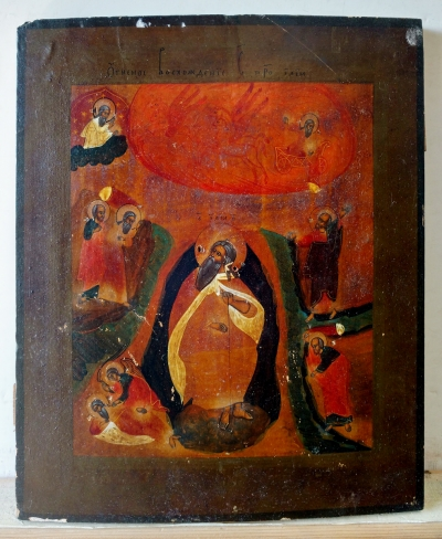 Russian Icon - Prophet Elija with Scenes of His Life & Fiery Ascent