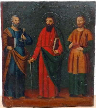 Russian Icon - Apostles Peter and Paul with Unmercenary Healer Saint Cosmas