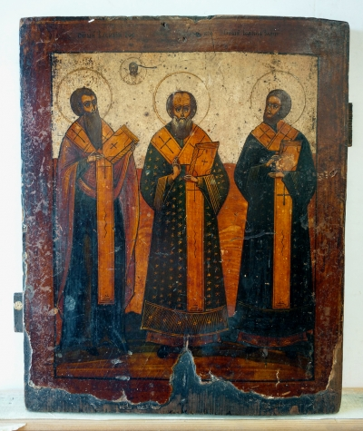 Russian icon - Three Orthodox Hierarchs: Basil the Great, Gregory the Theologian & John Chrysostom
