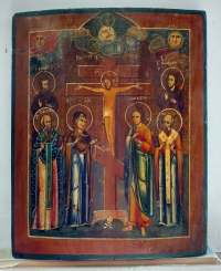 Russian Icon - The Crucifixion with Selected saints