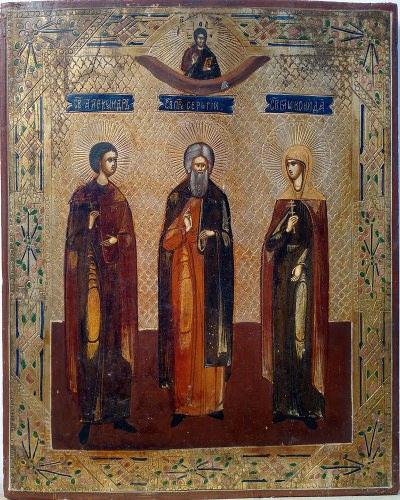 Russian icon depicting three Orthodox Saints: Saint Alexander, Saint Sergius of Radonezh, and Saint Martyr Elikonida