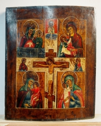 Russian icon - 4-Panel icon: The Crucifixion and 4 Miracleworking Madonnas