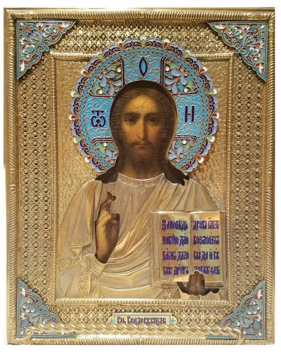 Russian Icon - Christ Pantocrator in silver and enamel oklad revetment cover