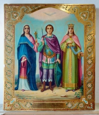 Russian Icon - 3 Saints: Martyrs Mary, Alexander & Alexandra