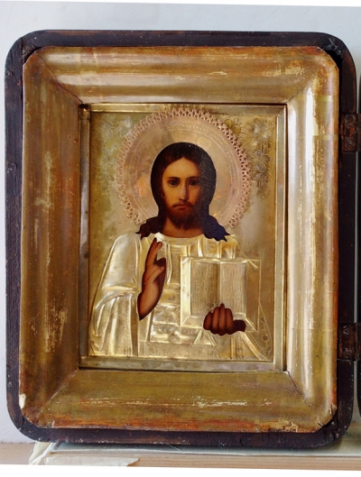 Russian icon - Christ Pantocrator in brass oklad cover and kiot