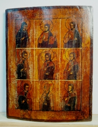 Russian Icon - 9-Part icon: Deisis & 6 Saints: St Michael, Sts Cosmas & Damian, Sts Florus and Laurus and St Anastasia