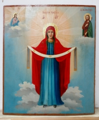 Russian icon - The Protection of the Most Holy Mother of God