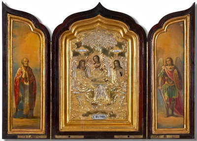 Spectacular Russian Triptych Icon depicting Old Testament Trinity with St. Nicholas and Archangel Michael